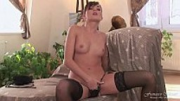 When the husband is not home the horny wife masturbates with the dildo