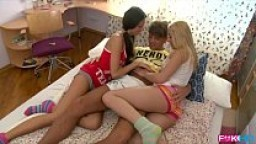 Russian Coeds intense dorm room threesome