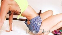 Big Bubble Butt Teen Wearing Tight Denim Shorts! Gorgeous Body!