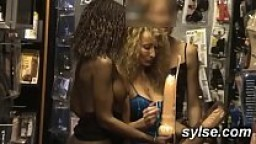 Flashing orgy outdoor and gangbang in sexshop with customers between SLUTS