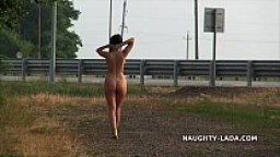 Naughty travel. Nude on the road