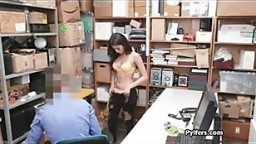 Latina shoplifter bends over for serious cocking